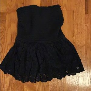 Navy Tube Top with Lace